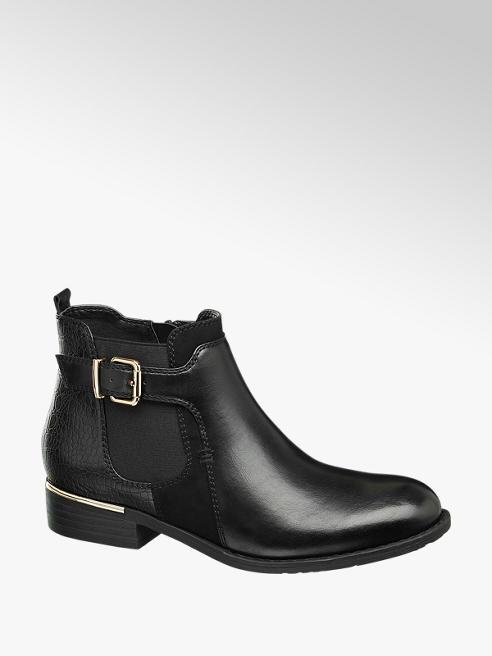 Graceland Black Croc Print Chelsea Boots