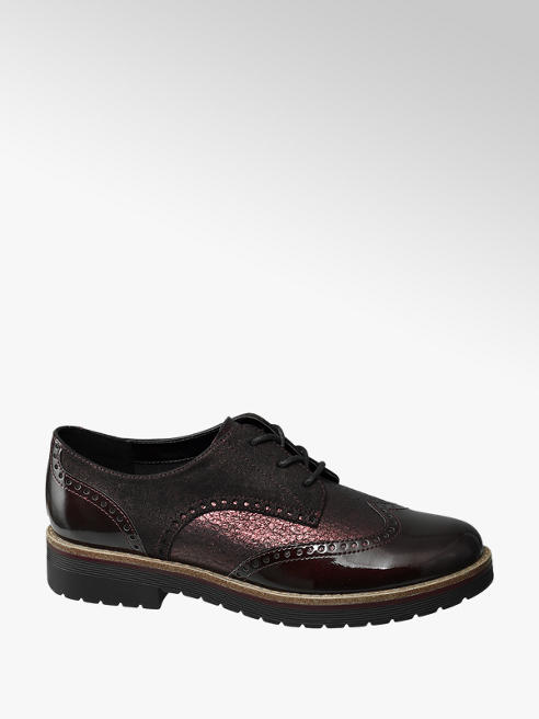 Graceland Metallic Bordo Lace Up Brogues