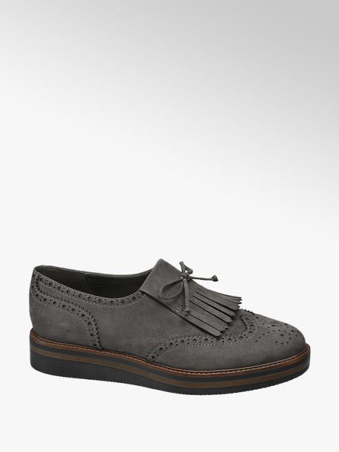 Graceland Grey Lace Up Chunky Tassel Brogues