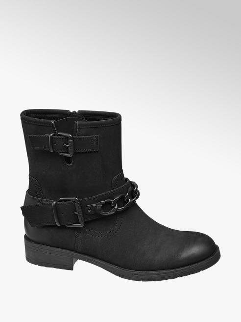 Graceland Black Chain Detail Zip-up Boots