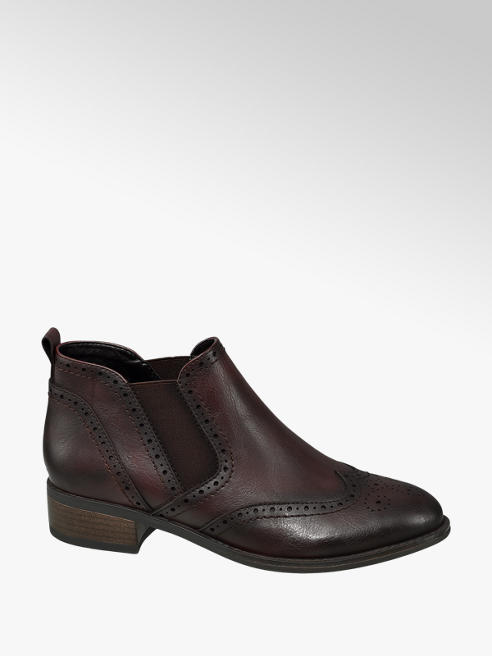 Graceland Bordo Brogue Detailed Chelsea Boots
