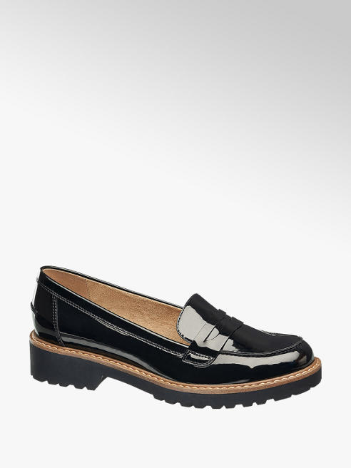 Graceland Ladies Black Chunky Patent Loafers
