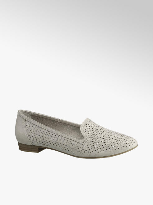 Graceland Grey Laser Cut Stud Detail Loafers