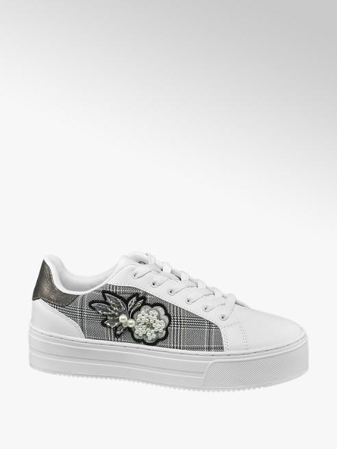Graceland White Embroidered Lace Up Trainers