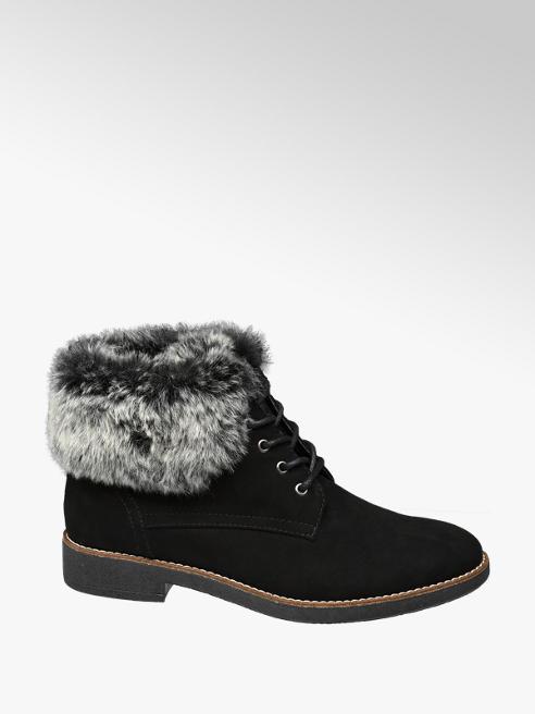 Graceland Black Faux Fur Lace-up Ankle Boots