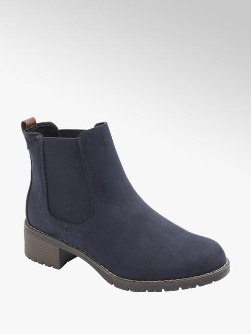Graceland Navy Faux Suede Chelsea Boots