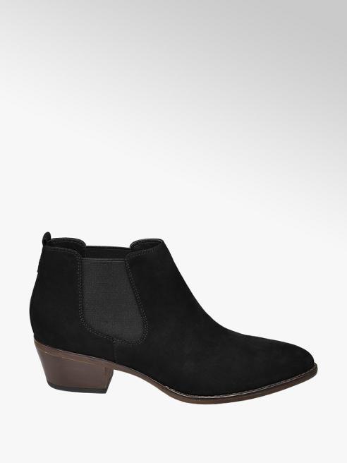 Graceland Black Faux Suede Heeled Chelsea Boots