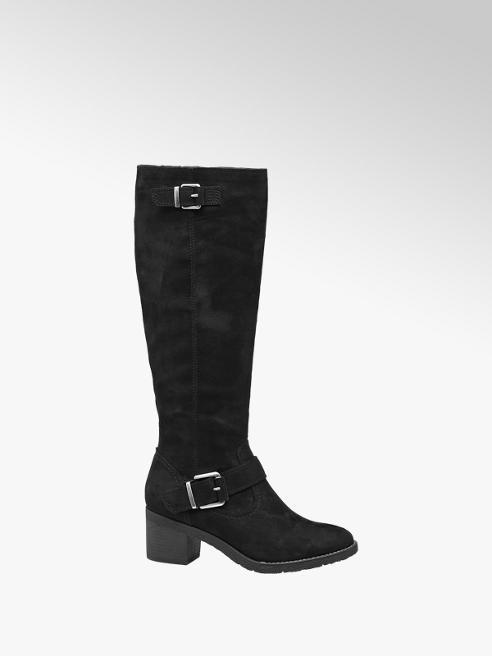 Graceland Black Faux Suede Long Leg Boots