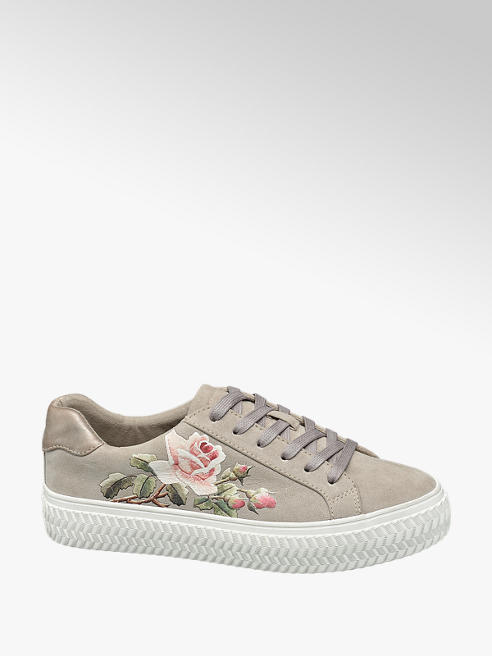 Graceland Beige Floral Print Lace-up Trainers