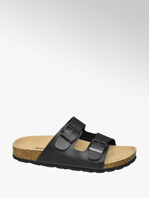 Graceland Ladies Black Footbed Sandal