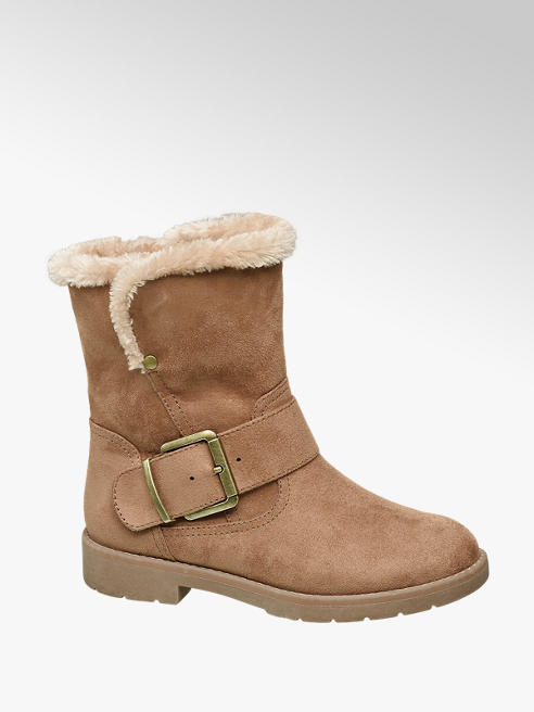 Graceland Beige Warm Lined Ankle Boots