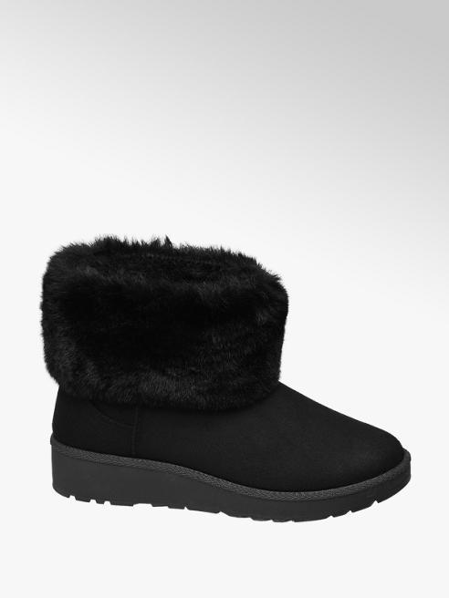 Graceland Black Fur Lined Slip-on Boots