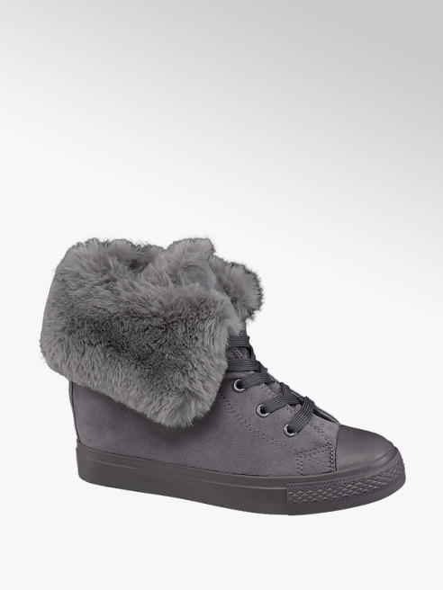 Graceland Grey Fur Lined Lace-up Trainers