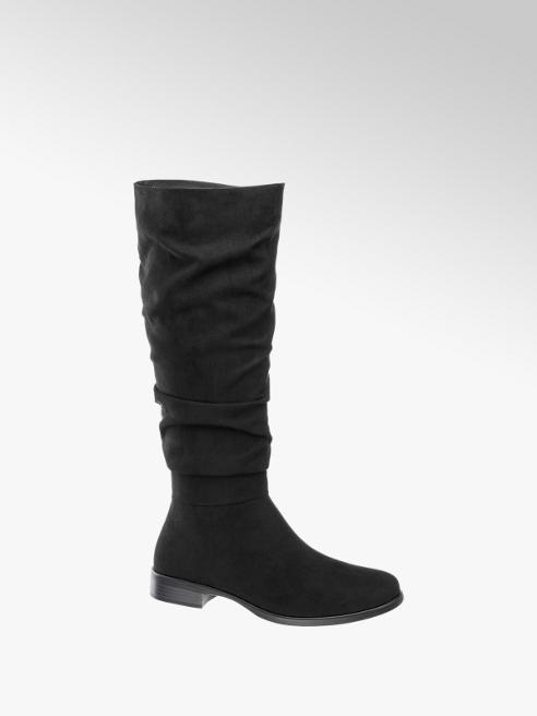 Graceland Black Gathered Long Leg Boot