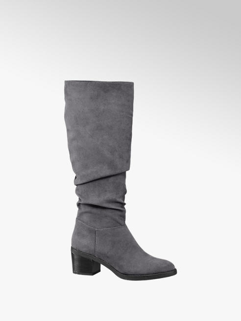 Graceland Grey Heeled Long Leg Boots