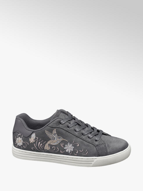 Graceland Grey Embroidered Lace-up Trainers