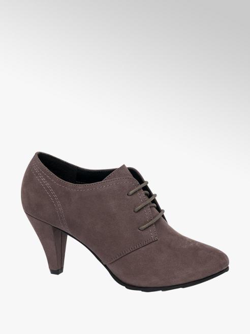 Graceland Grey Lace Up Heeled Shoe