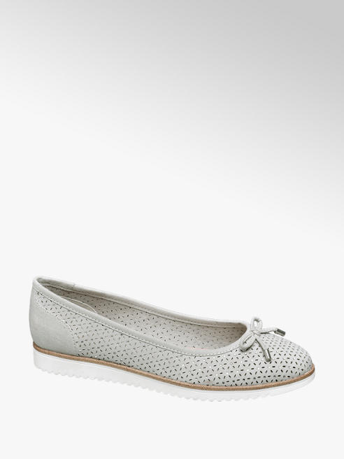 Graceland Grey Laser Cut Floral Gem Ballerinas