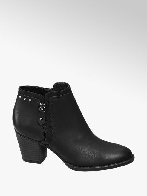 Graceland Black Stud Detail Heeled Ankle Boots