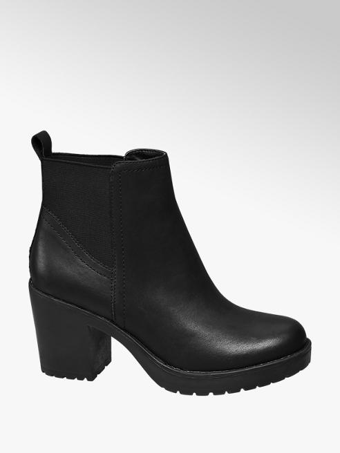 Graceland Black Chunky Heeled Chelsea Boots
