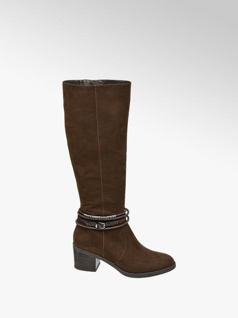 Graceland Brown Heeled Long Leg Boots