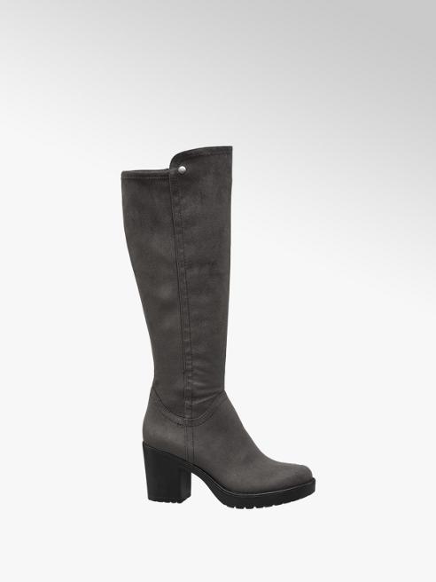 Graceland Grey Heeled Long Leg Boots
