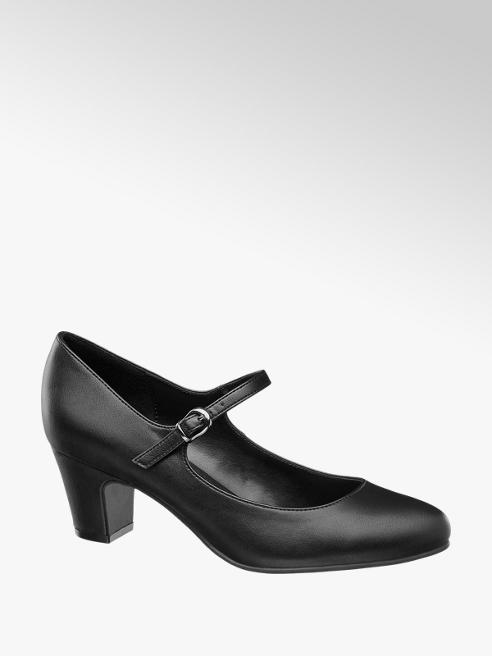 Graceland Black Low Heeled Bar Shoes