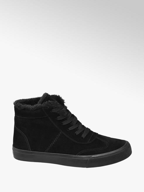 Graceland Black Fur Lined Lace-up Trainers