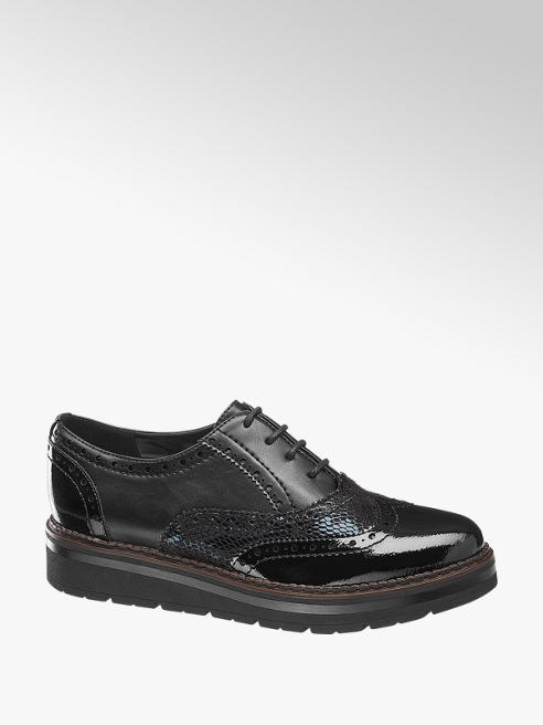 Graceland Black Chunky Lace-up Brogues