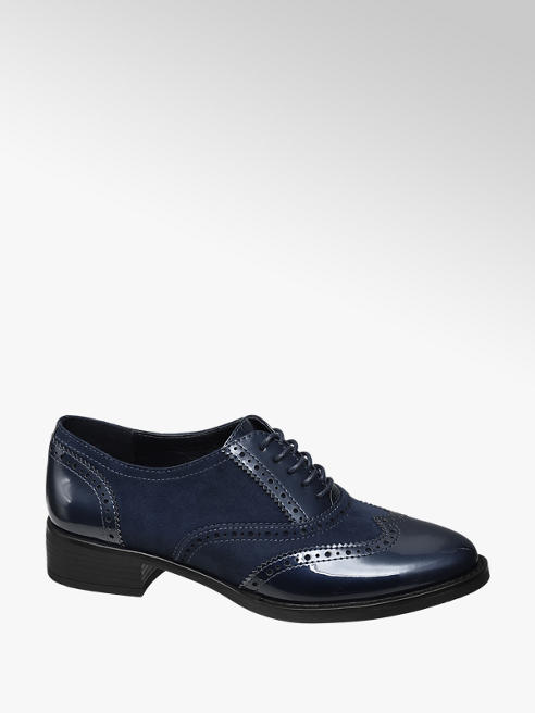 Graceland Navy Patent Lace-up Brogues