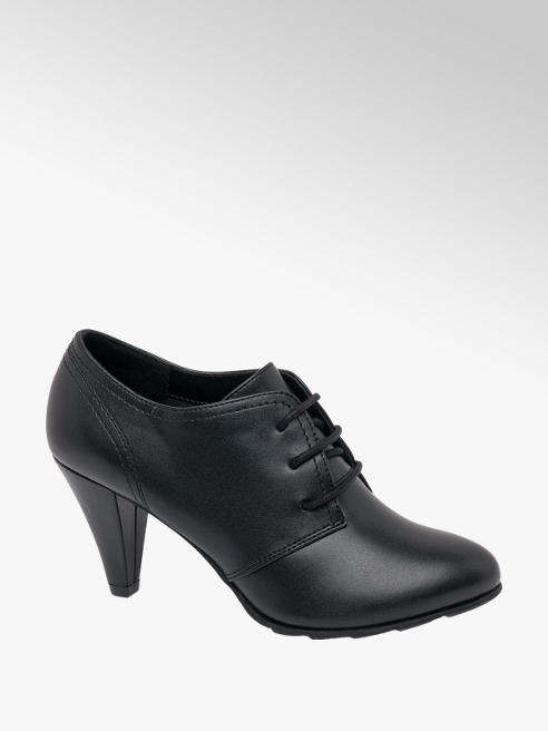 Graceland Black Lace Up Heeled Shoes