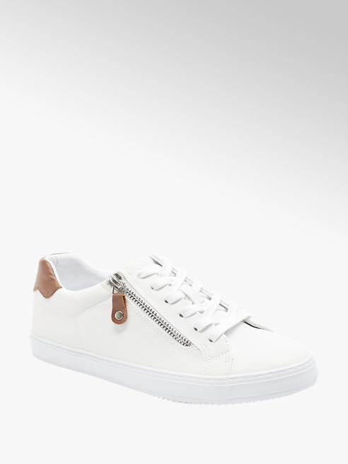 Graceland White Lace Up Trainers with Zip Detail