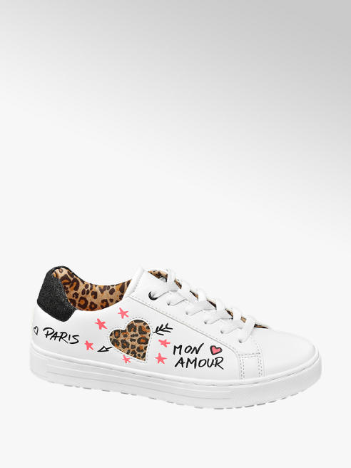 Graceland Ladies White and Leopard Detail Embroidered Lace Up Trainers
