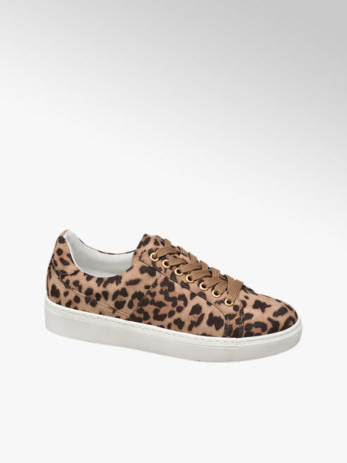 Graceland Ladies Brown Leopard Print Tan Leopard Print Lace-Up Trainers