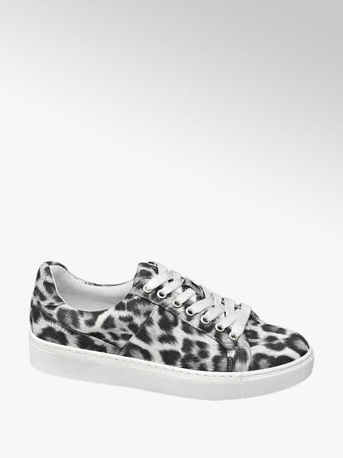 Graceland Ladies White Leopard Print Lace-up Trainers