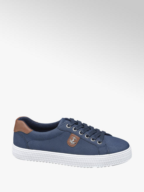 Graceland Ladies Navy Anchor Badge Lace-up Trainers