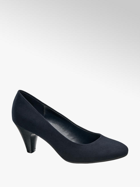 Graceland Navy Heeled Court Shoes
