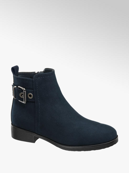 Graceland Navy Buckle Detail Chelsea Boots