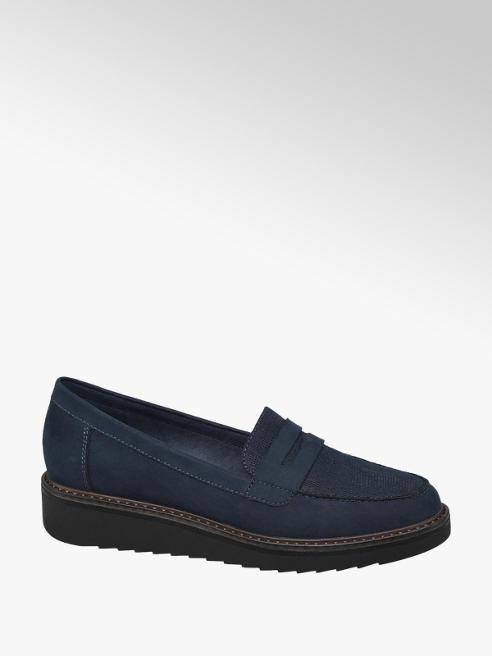 Graceland Navy Chunky Slip-on Loafers