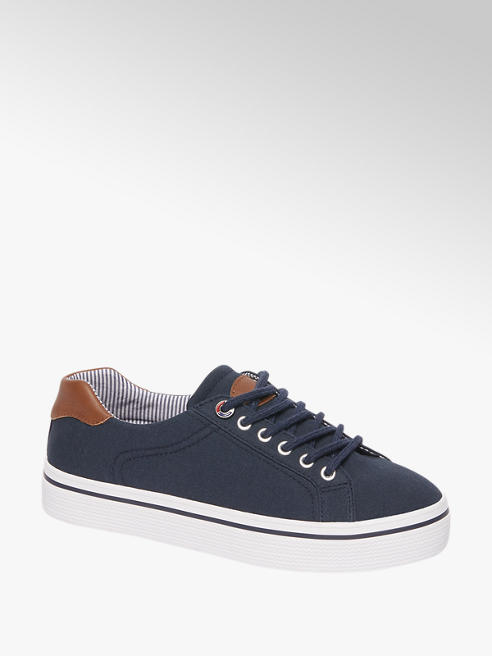Graceland Ladies Navy Stripe Lining Lace-up Trainers