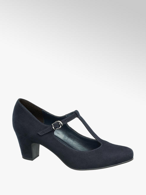 Graceland Navy T-Bar Heeled Shoes
