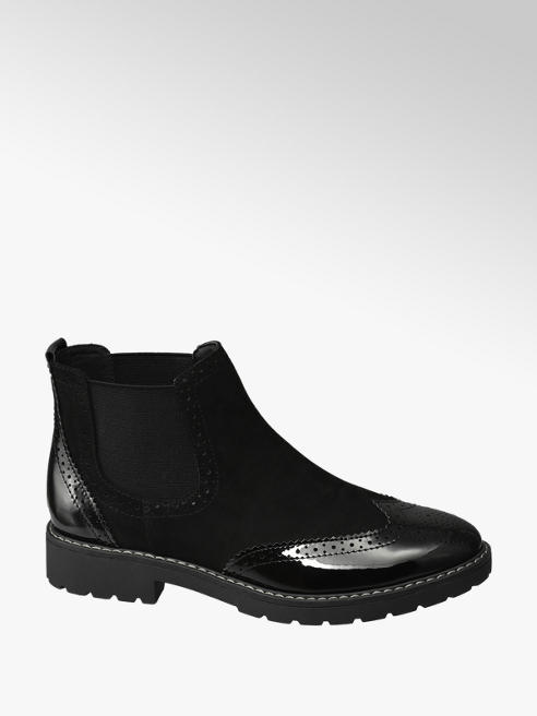 Graceland Black Patent Brogue Chelsea Boots