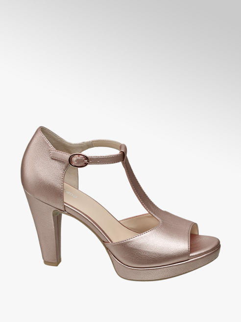 Graceland Rose Gold T Bar Peep-toe Heels