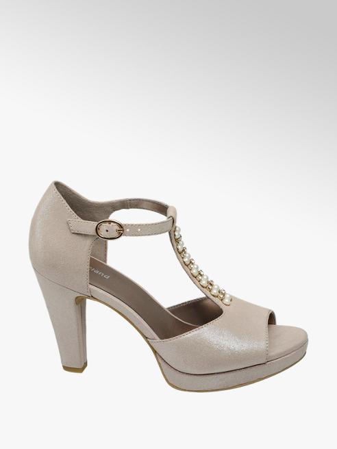 Graceland Rose Gold Pearl Detail Peep-toe T Bar Heels
