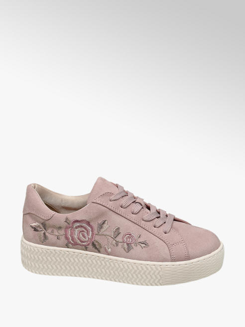 Graceland Pink Floral Embroidered Lace-up Trainers