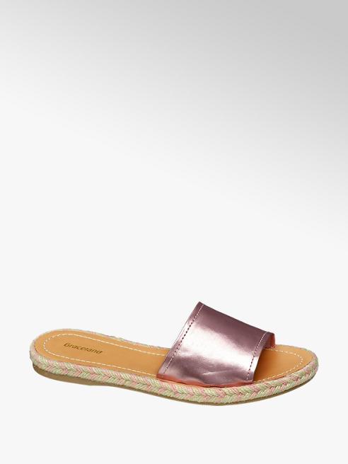 Graceland Pink Metallic Mule Sandals