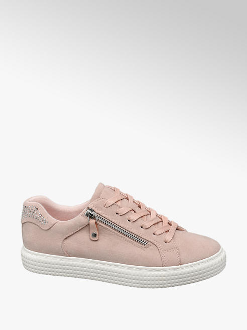 Graceland Ladies Pink Zip Detail Lace-up Trainers