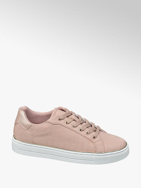 Graceland Ladies Rose and Gold Detailed Lace Up Trainers