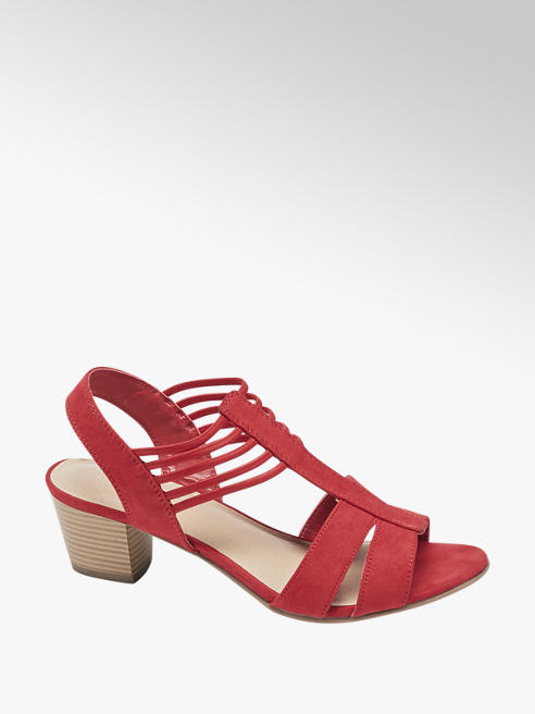 Graceland Red Block Heel Strappy Sandals