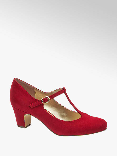 Graceland Red T Bar Block Heel Court Shoes